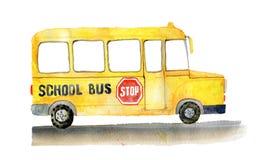 Autobús escolar en el lado Fotografía de archivo