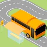 Autobús escolar isométrico Stock de ilustración