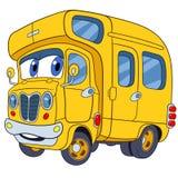 Autobús escolar lindo de la historieta Fotografía de archivo libre de regalías