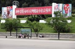 Autobús-parada en Pyongyang Fotografía de archivo libre de regalías