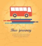 Autobús rojo con la dirección de las flechas de la trayectoria Foto de archivo