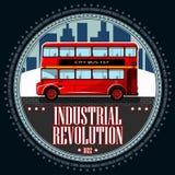 Autobús rojo de la cubierta doble de un paisaje industrial ilustración del vector