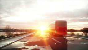 Autobús rojo turístico en el camino, carretera Conducción muy rápida Concepto turístico y del viaje Animación realista 4K libre illustration