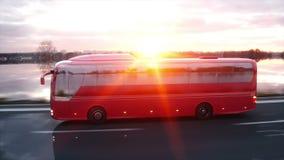 Autobús rojo turístico en el camino, carretera Conducción muy rápida Concepto turístico y del viaje Animación realista 4K almacen de metraje de vídeo