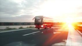 Autobús rojo turístico en el camino, carretera Conducción muy rápida Concepto turístico y del viaje Animación realista 4K ilustración del vector