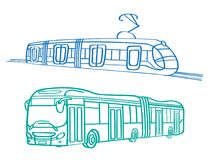 Autobús y tranvía del transporte de la ciudad fotos de archivo