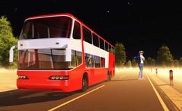 Autobús y turista Fotografía de archivo libre de regalías