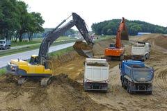 Autobahn στη Γερμανία κάτω από την κατασκευή Στοκ Φωτογραφία