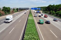 Autobahn. A German autobahn (motorway) in the Frankfurt nearing. Autobahns are famous for having no speed limit, while managing to keep fatalities rates lower Stock Image