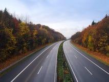 Autobahn alemão no outono Imagens de Stock Royalty Free