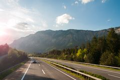 Autobahn. In austrian mountains at sunset stock images
