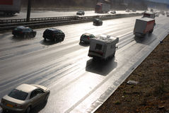 Autobahn bagnato Fotografia Stock