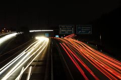 Autobahn car lights. In the night royalty free stock image