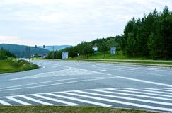 The autobahn in Europe. Without cars stock photos