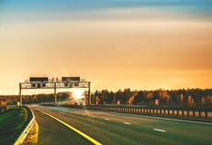 Autobahn. Evening landscape with the autobahn royalty free stock photo
