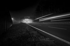 Autobahn Freeway Exit. German exit from autobahn freeway by night royalty free stock photo