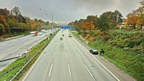 Autobahn/Highway Traffic time lapse tyre failure. Time lapse sequence of Autobahn/Highway with tyre failure stock video