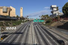 Autobahn Hollywood 101 in im Stadtzentrum gelegenem Los Angeles Stockbilder