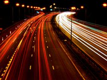 Autobahn M6 nachts stockbild