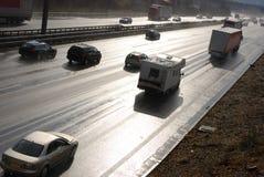 Autobahn mojado Fotografía de archivo