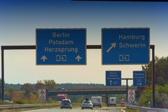 Autobahn sign in Germany stock images