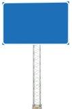 Autobahn-Straßenkreuzungs-Antriebsdrehrichtungs-Hinweiszeichen-Platten-Schild, großer lokalisierter leerer leerer blauer Kopien-R Lizenzfreies Stockbild