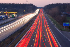 Autobahn to munich. Motion-blur, sunset Royalty Free Stock Photo