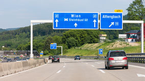 Autobahn with traffic in Austria royalty free stock image