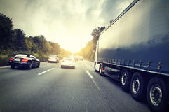 Autobahn. Traffic jam on a Highway Stock Photography