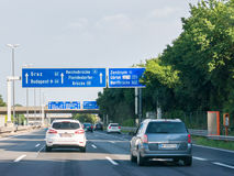 Autobahn A22 with traffic and road signs, Vienna, Austria stock image