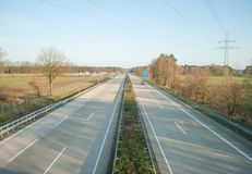 The autobahn, view from the bridge over the road, the movement of cars royalty free stock photography