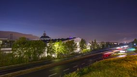 Autobahn A37 w Hannover przy wieczór Timelapse zdjęcie wideo