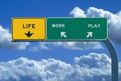 Autobahn-Zeichen-Messwert: Leben, Arbeit, Spiel Stockbild