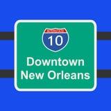 Autobahn zum New- Orleanszeichen stock abbildung