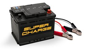 Autobatterij met Jumper Cables Cold Weather Stock Foto
