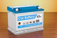 Autobatterij op de houten lijst het 3d teruggeven Stock Foto
