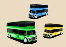 autobusów 3d styl, barwiony, set Zieleń, kolor żółty, zieleni kolory Zdjęcia Stock