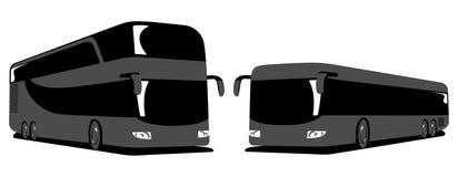 Autobus à impériale et autobus de ville Illustration plate de vecteur d'autobus de touristes Photo libre de droits