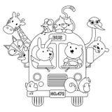 Autobus animal sans couleur illustration de vecteur