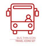 Autobus cienka kreskowa ikona Ilustracji