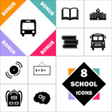 Autobus computer symbol. Passenger bus Icon and Set Perfect Back to School pictogram. Contains such Icons as Schoolbook, School  Building, School Bus, Textbooks Royalty Free Stock Images