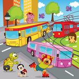 Autobus de tram de trolleybus d'animaux illustration stock