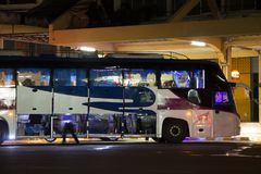 Autobus de Volvo de société de gouvernement de transport Ligne d'autobus de 15 mètres Photo libre de droits