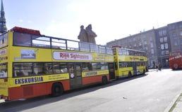 Autobus du centre de Riga le 22 août 2014 - de Riga en Lettonie Image libre de droits