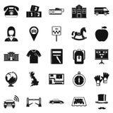Autobus icons set, simple style. Autobus icons set. Simple set of 25 autobus vector icons for web isolated on white background Stock Photography