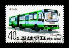 Autobus - Kwangbosonyeunho, exposição internacional do selo - Essen - serie dos ônibus e dos bondes, cerca de 1992 Foto de Stock Royalty Free