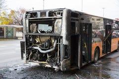 Autobus public brûlé du trafic photo libre de droits