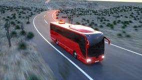Autobus rouge touristique sur la route Piloter rapide Rendu 3d réaliste illustration libre de droits