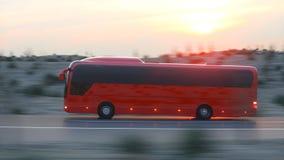 Autobus rouge touristique sur la route Piloter rapide Rendu 3d réaliste illustration de vecteur