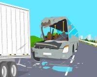 Autobus rozbijał w ciężarówkę Obrazy Royalty Free